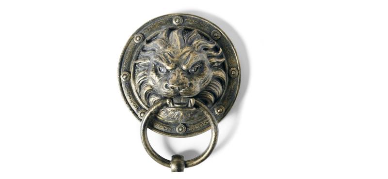 lion red eye light door knockers