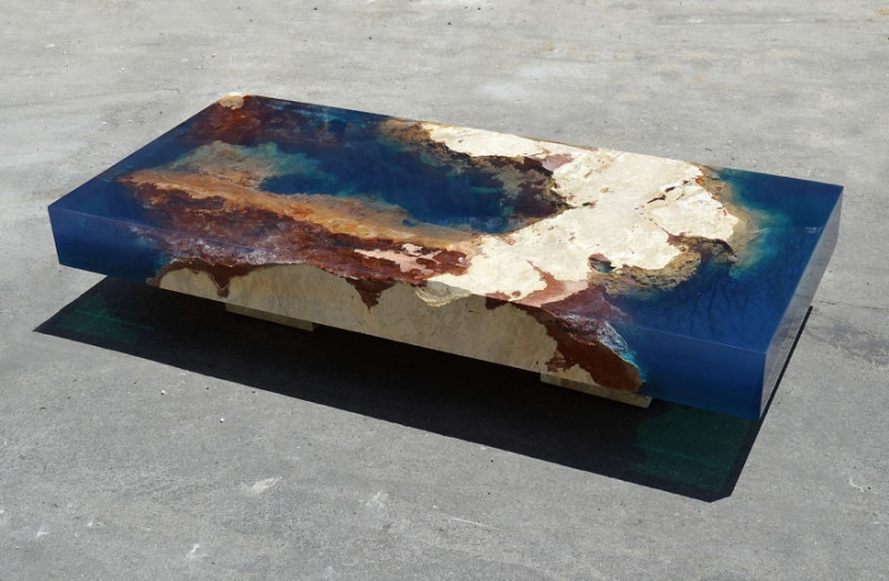 Natural stone and resin lagoon table by LA Tables