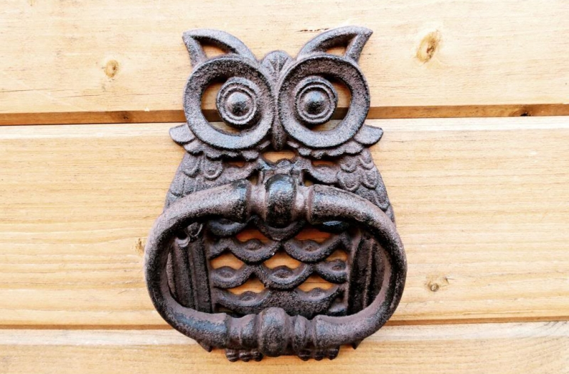 #11 Cast iron molded in the shape of an owl this door knocker is perfect to keep a watch at your front door 24×7. & 32 unique door knockers that will beautify your front door