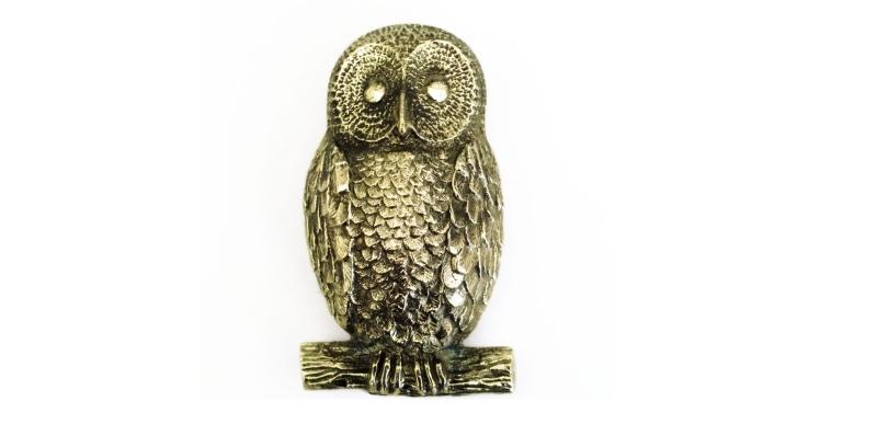 Cast Iron Bronze-Colored Spread-Winged OWL Door Knocker