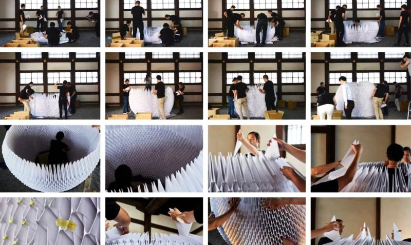 The structure is built employing origami art
