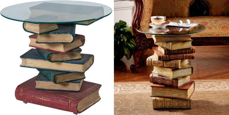 Coffee table made of old books