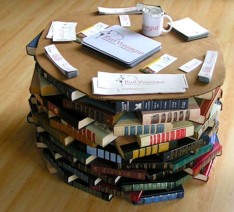 Build a coffee table using old books