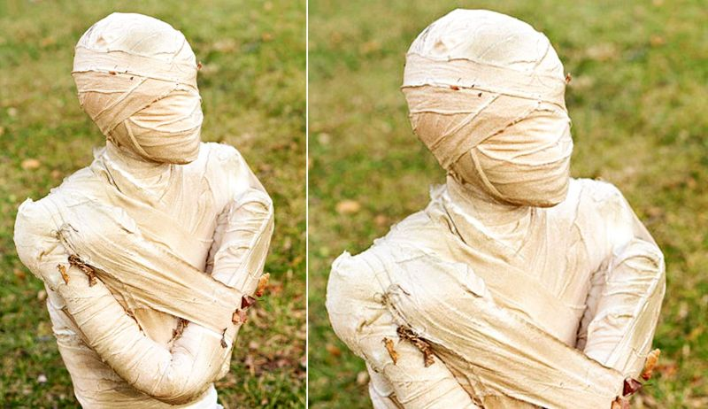 Graved mummy in yard for Halloween