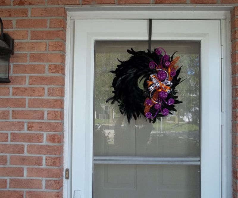 Raven feather wreath for Halloween