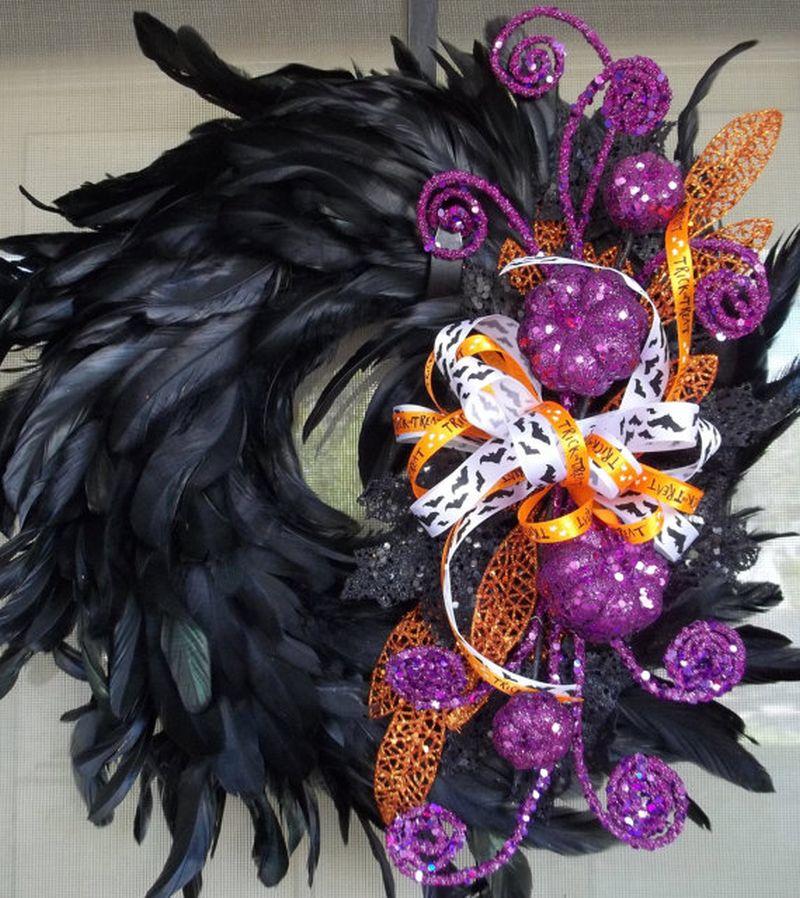 Halloween cute Raven feather wreath