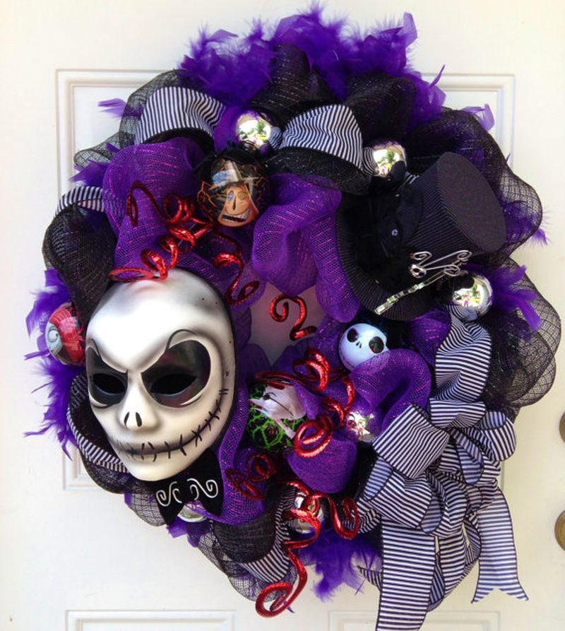 Jack Skellington inspired wreath