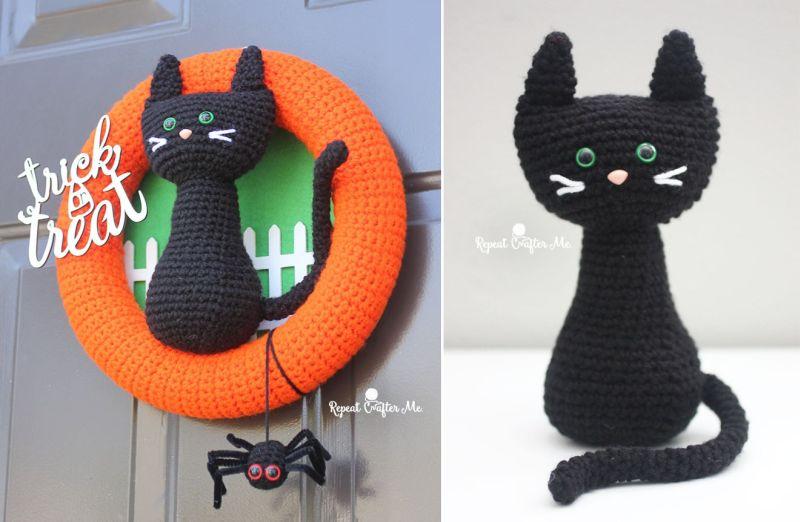 Crochet Halloween black cat wreath