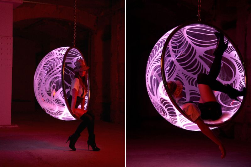 Glow in the dark: Rousseau hanging chair