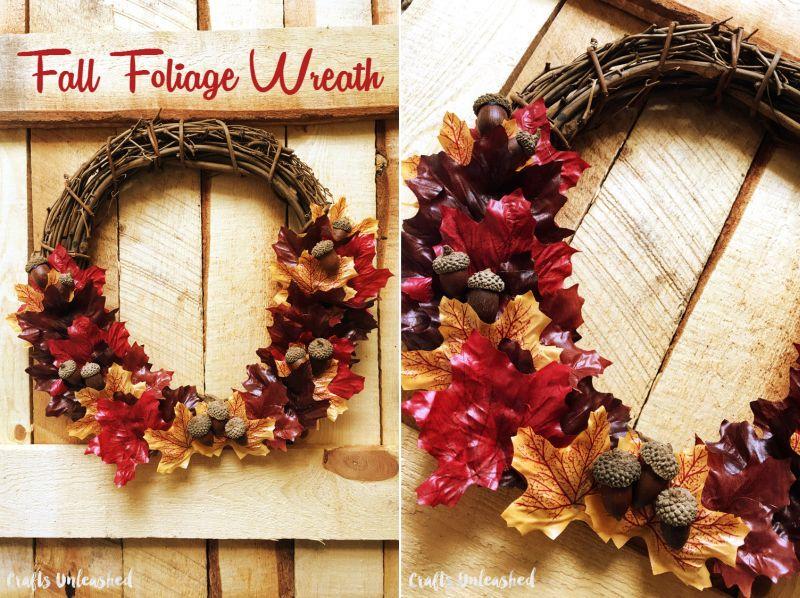 Fall foliage DIY leaf wreath