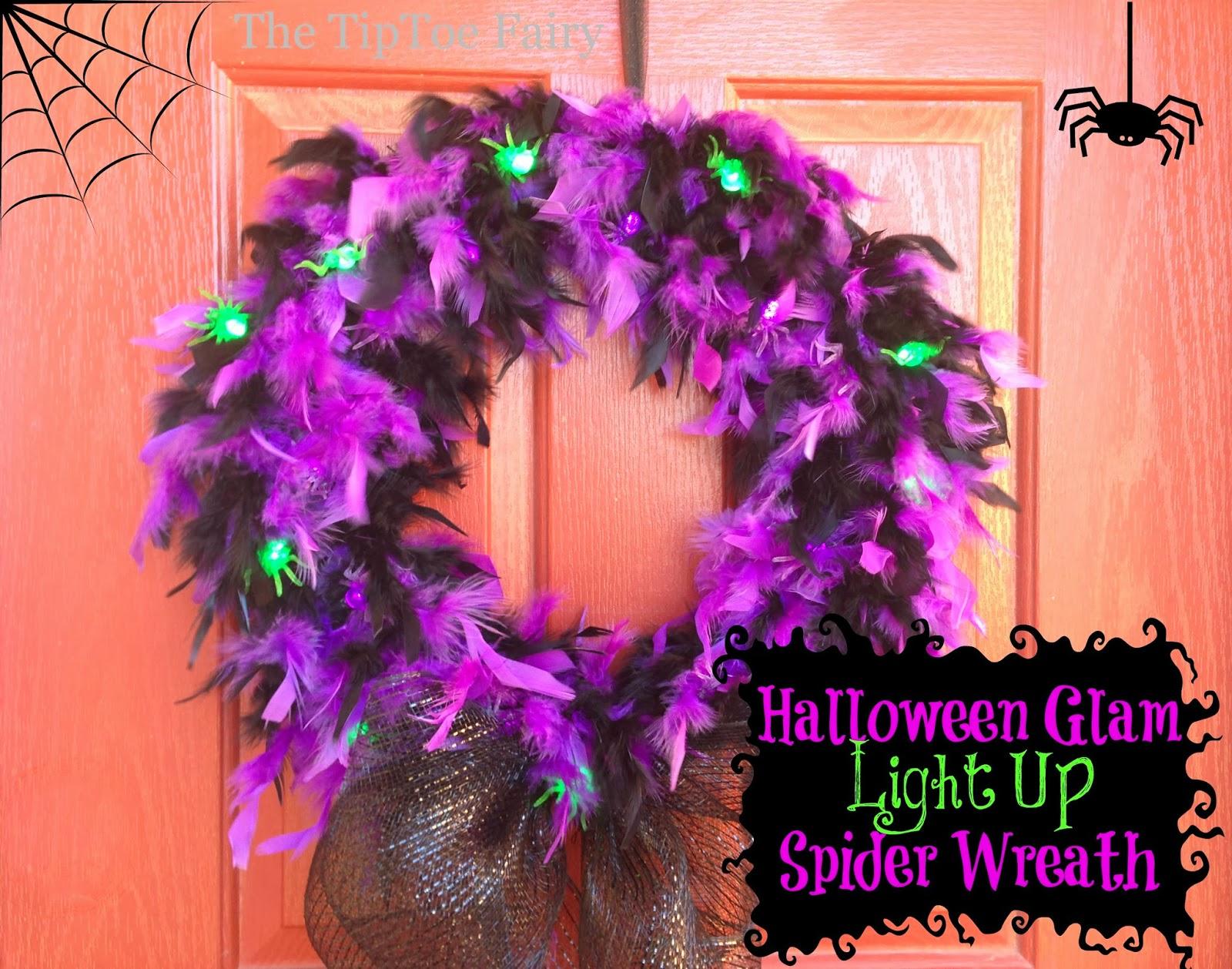 Halloween glam spider wreath