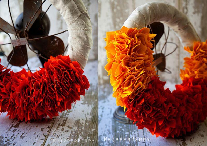 Candy corn wreath for Halloween