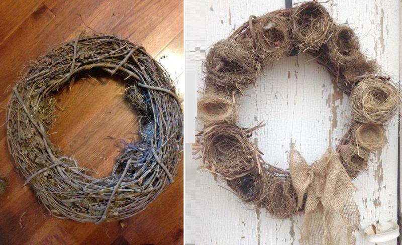 DIY birds nest wreath