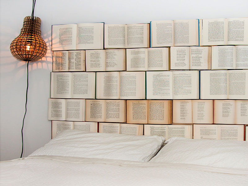 Headboards made of books