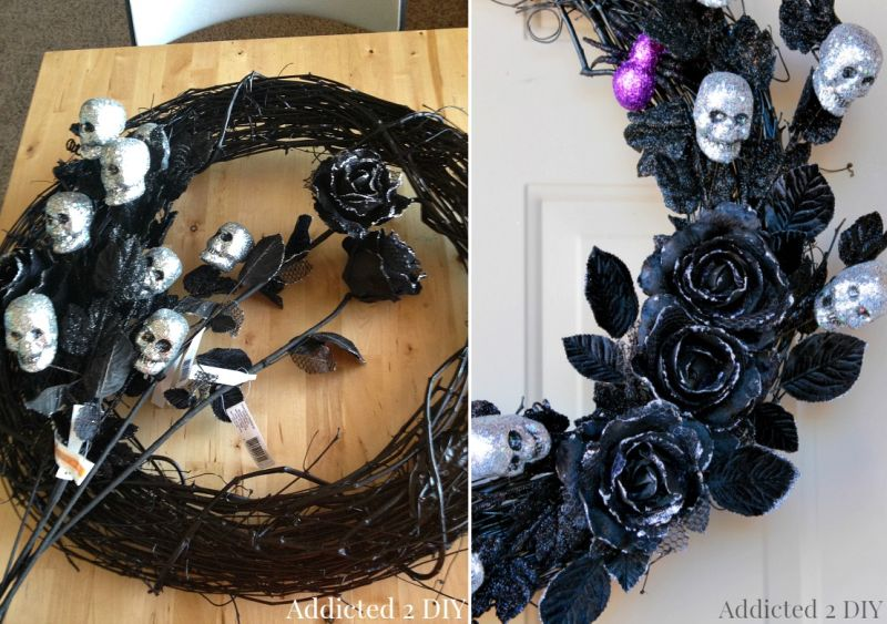 Ghoulish glam wreath for Halloween