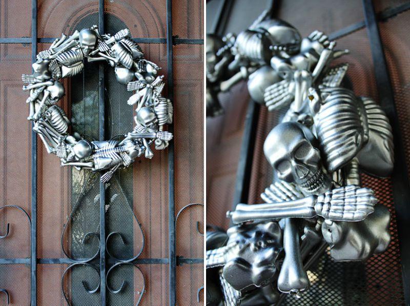 Metallic skeleton wreath