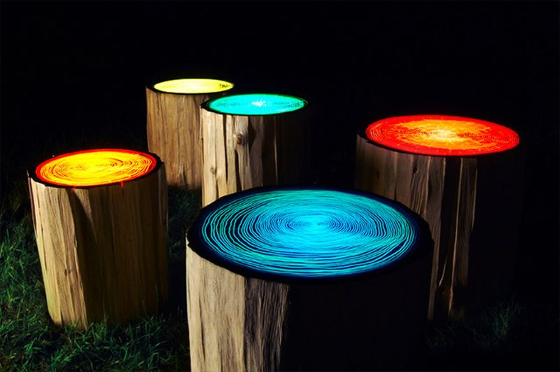 Tree-ring light stools by Judson Beaumont