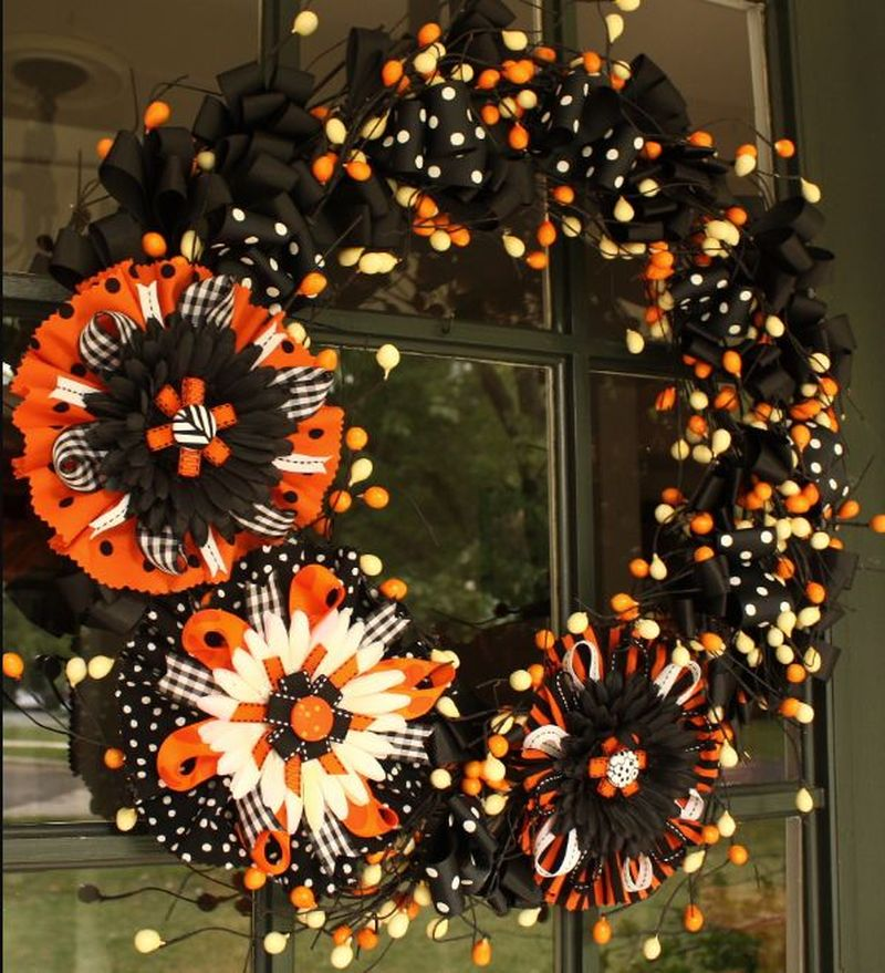 Giant flower bow wreath