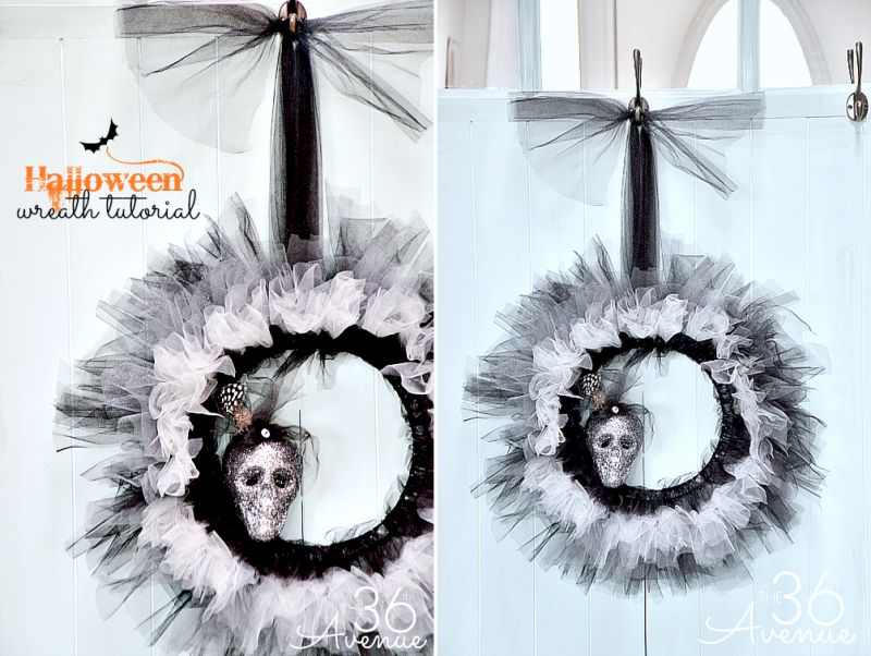 Lovely tulle and skull made wreath