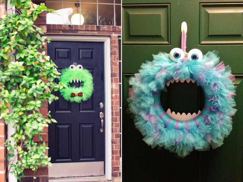 DIY cute monster wreath