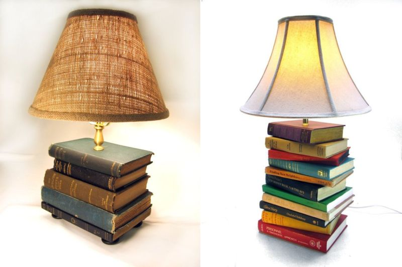 lamp base made from old books