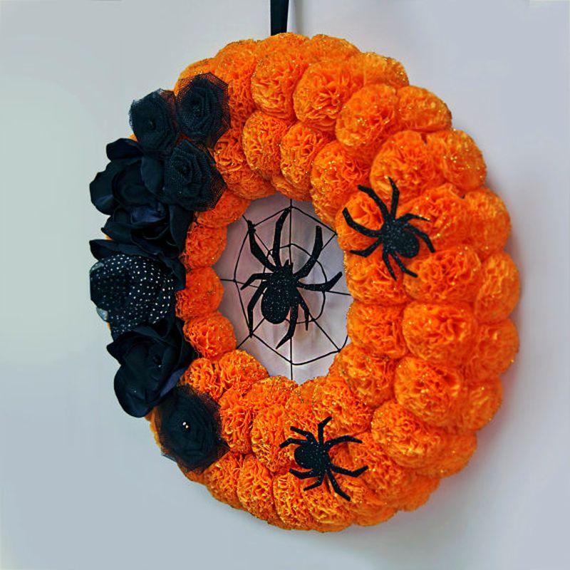 Black floral spider wreath for Halloween