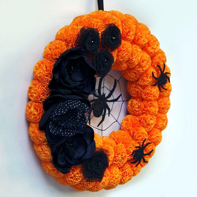 Halloween Black floral spider wreath