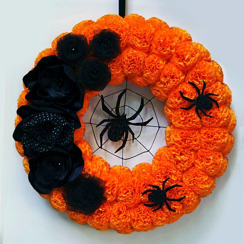 Black floral spider wreath