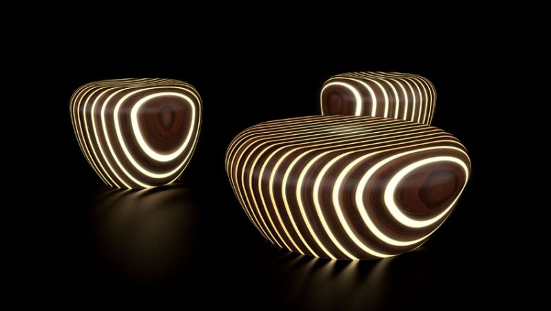 LED Bright Wood coffee tables by Giancarlo Zema