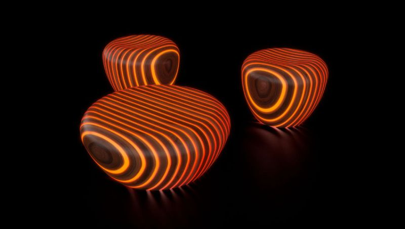 Orange Bright Wood coffee tables by Giancarlo Zema