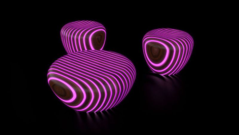 Pink Bright Wood coffee tables by Giancarlo Zema