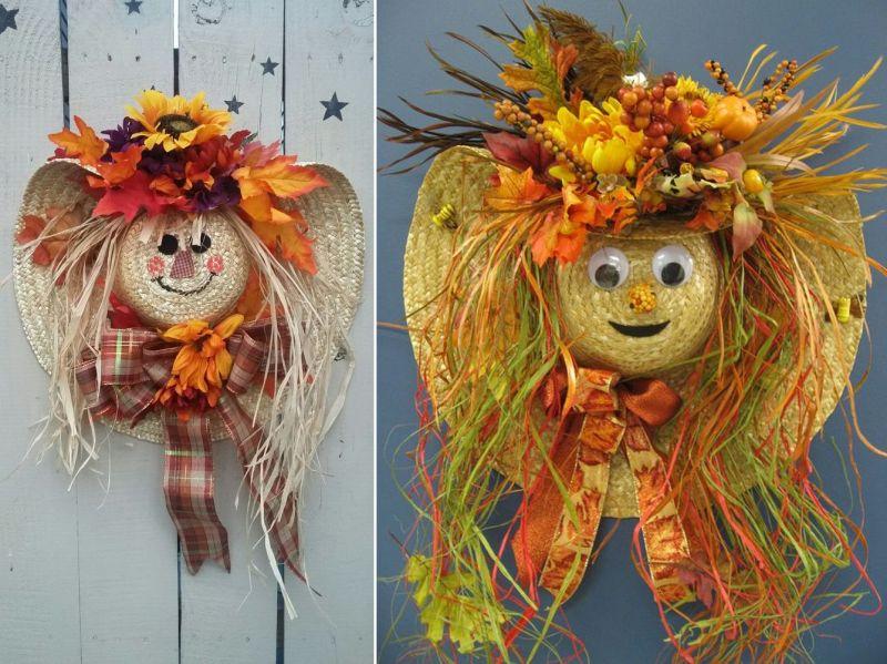 Scarecrow hat wreath for Halloween