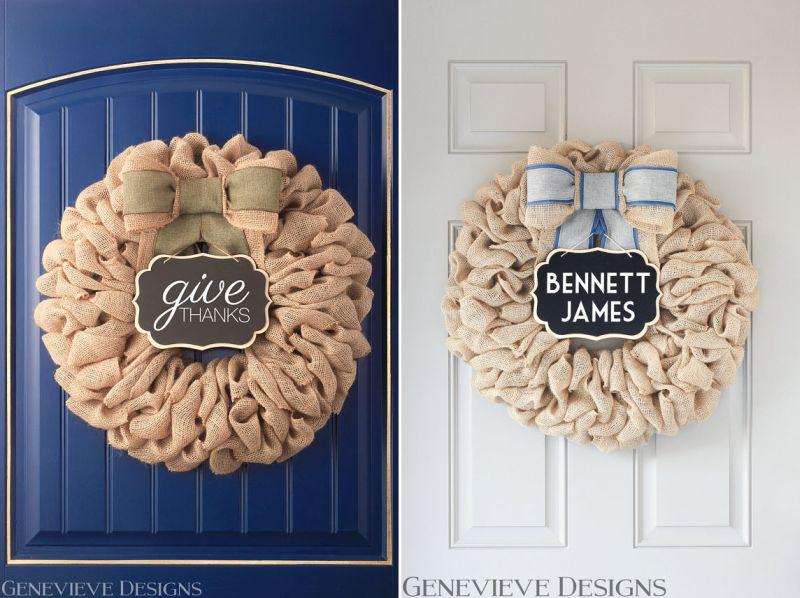 A burlap wreath for Halloween