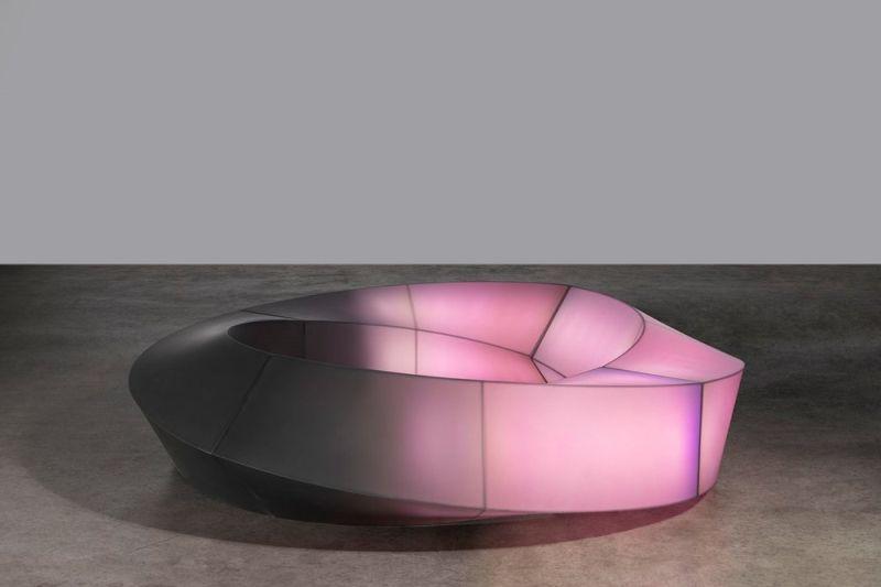 Gleaming Mobius light bench
