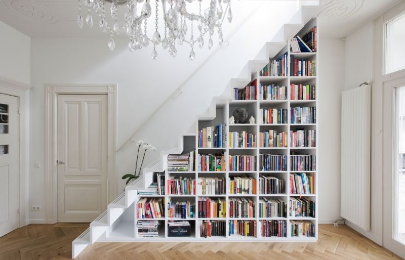 decorate under stair space with books