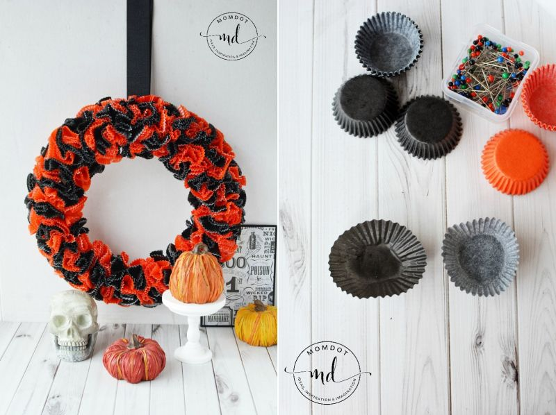 Wreath made of cupcake wrappers
