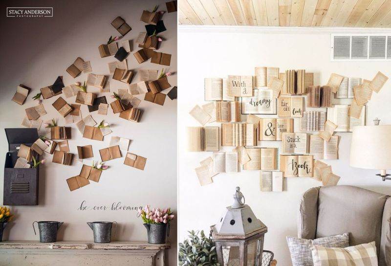 Wall decoration using books