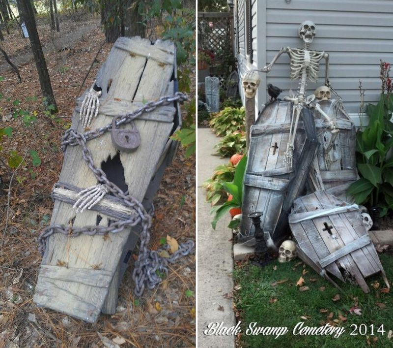 old coffin in garden for Halloween