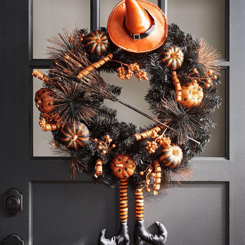 Halloween Orange and black witch wreath