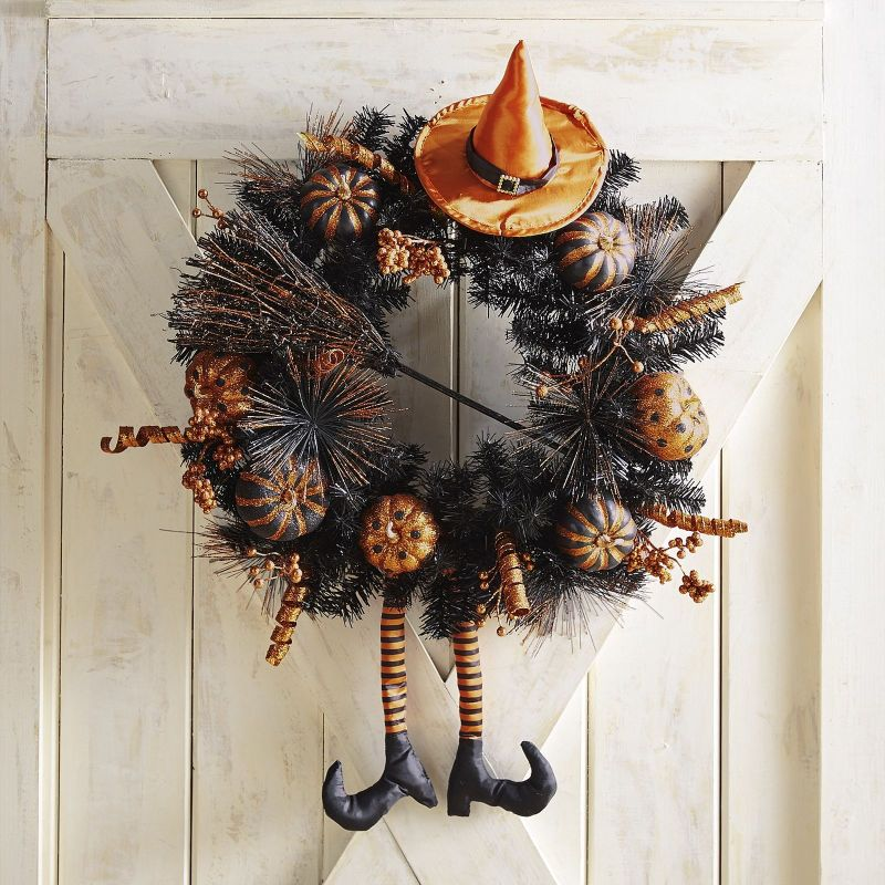 Orange and black witch wreath