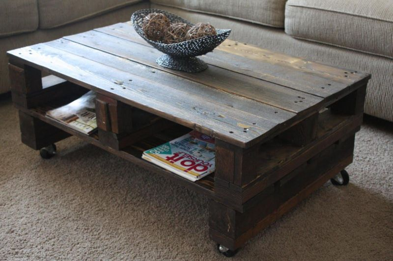Wooden table made of reclaimed wood