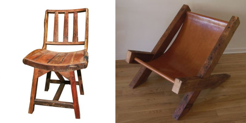 A rustic reclaimed wooden chair