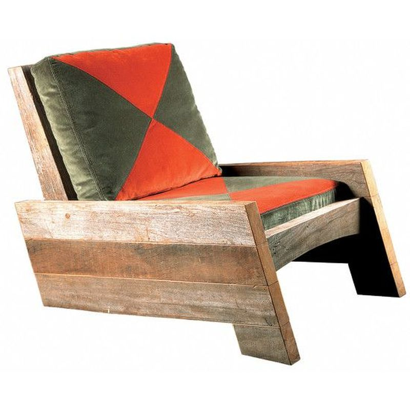 Reclaimed wooden chair for living room
