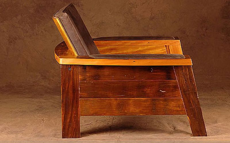 A rustic wooden chair