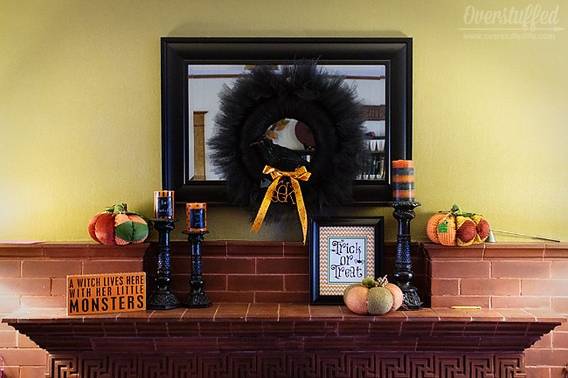 All Black Tulle Wreath for mantel