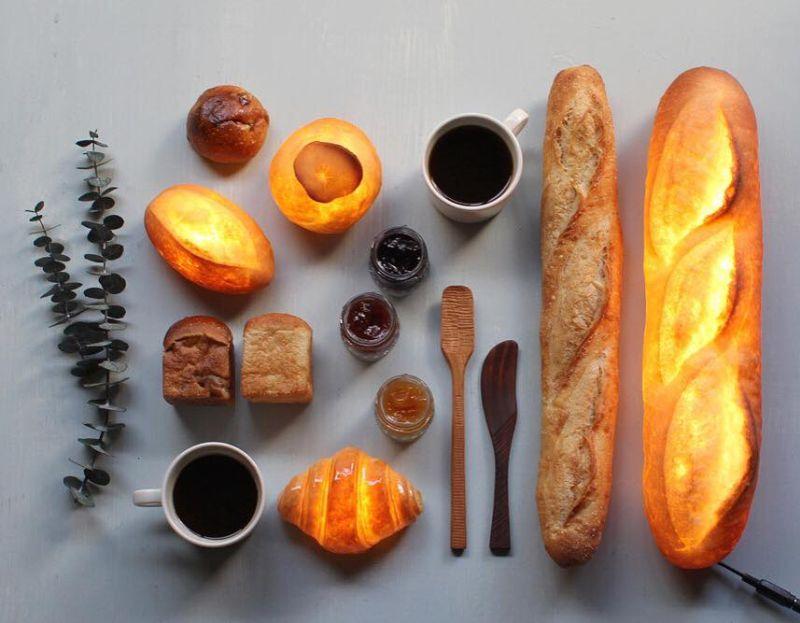 Pampshade collection bread lamps by Yukiko Morita