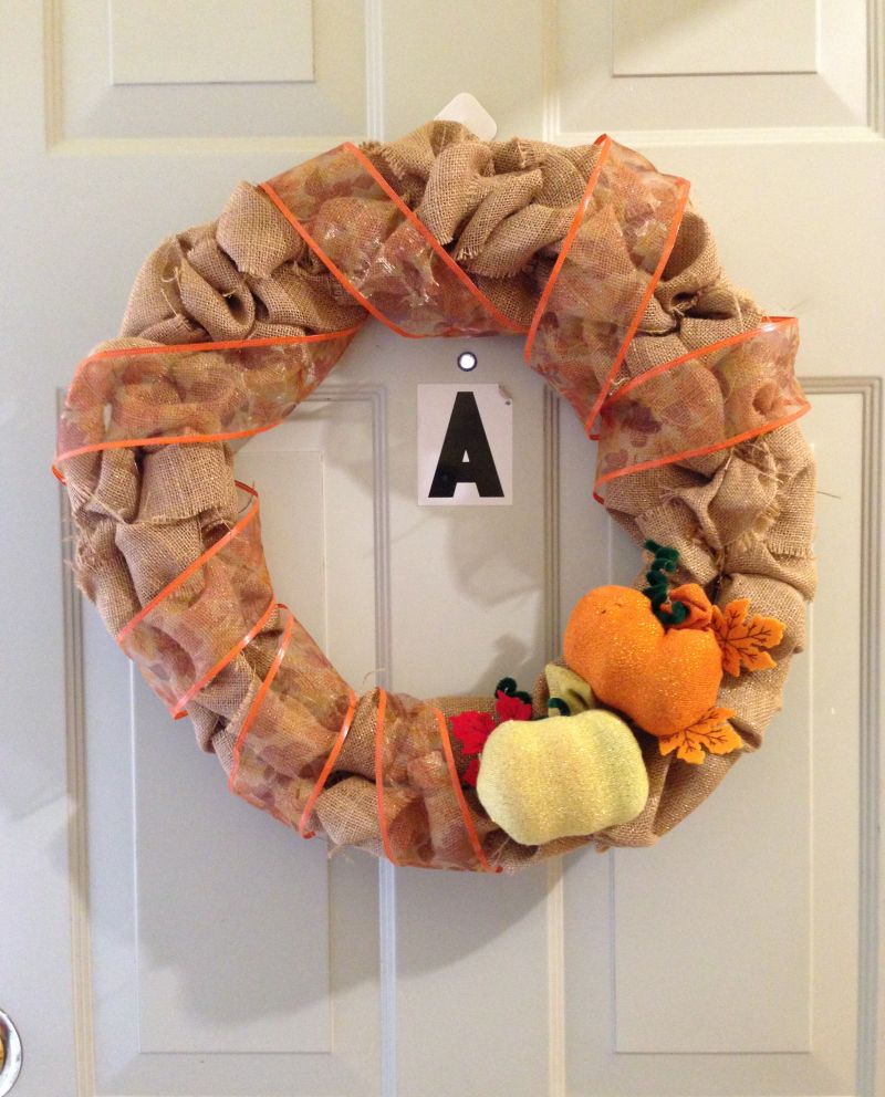 DIY Burlap Wreath with DIY pumpkin