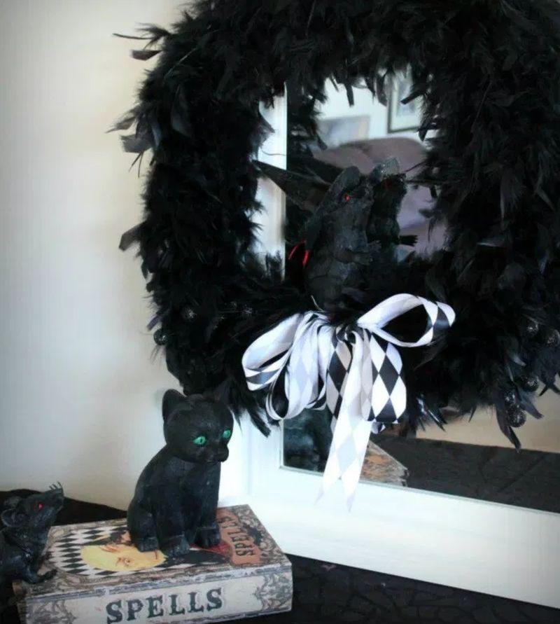# DIY Feathered Halloween Wreath