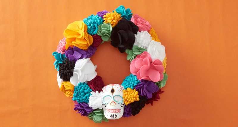 Not-So-Scary Floral Skull Wreath