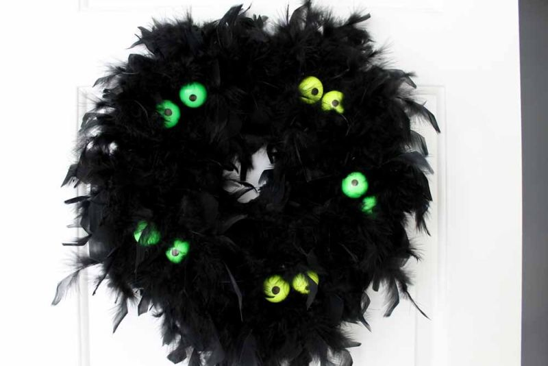 Glow in the Dark Eyes Halloween Wreath